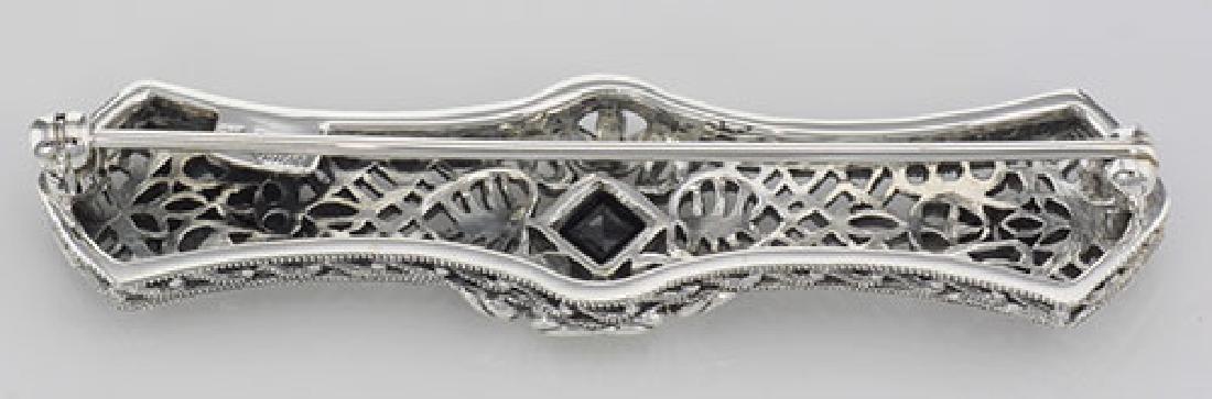 Art Deco Style Black Onyx Filigree Bar Pin / Brooch - S - 2