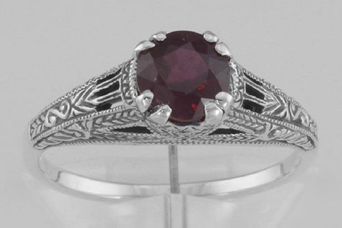 Natural Ruby Filigree Ring - Sterling Silver - 2