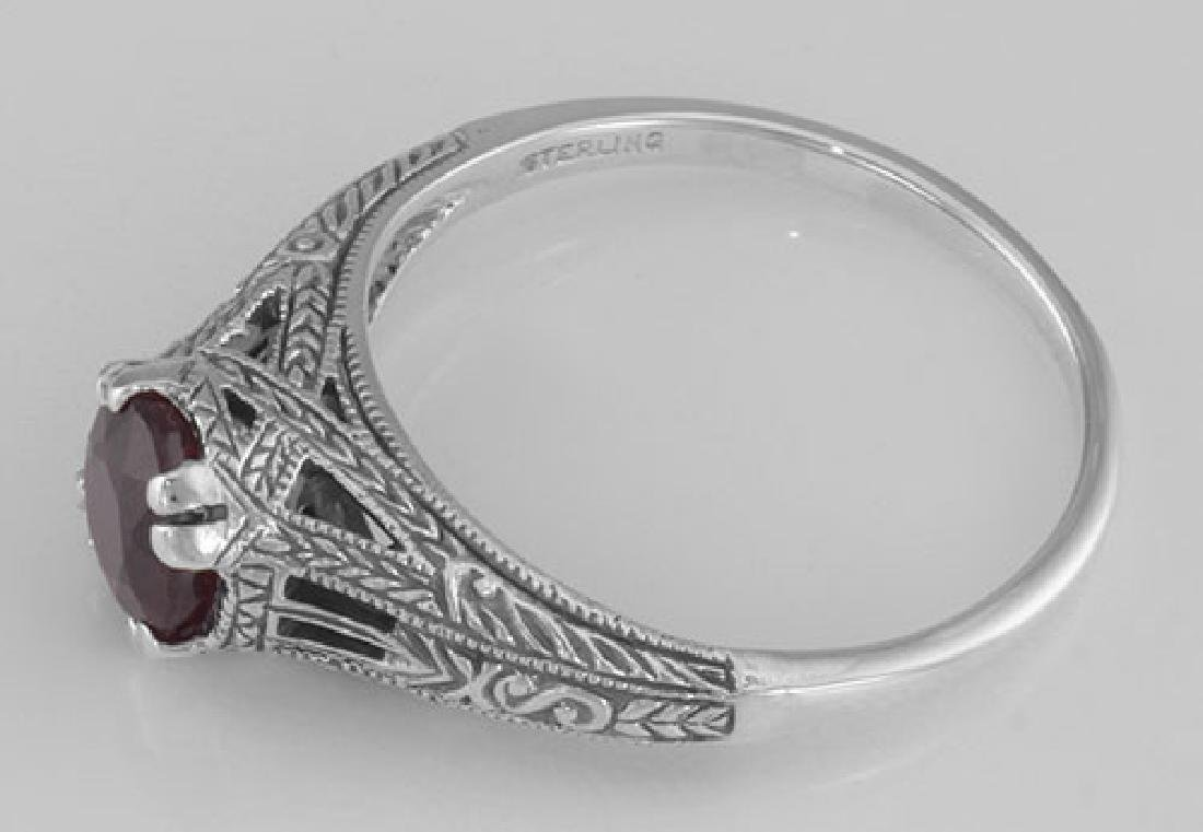 Natural Ruby Filigree Ring - Sterling Silver - 3
