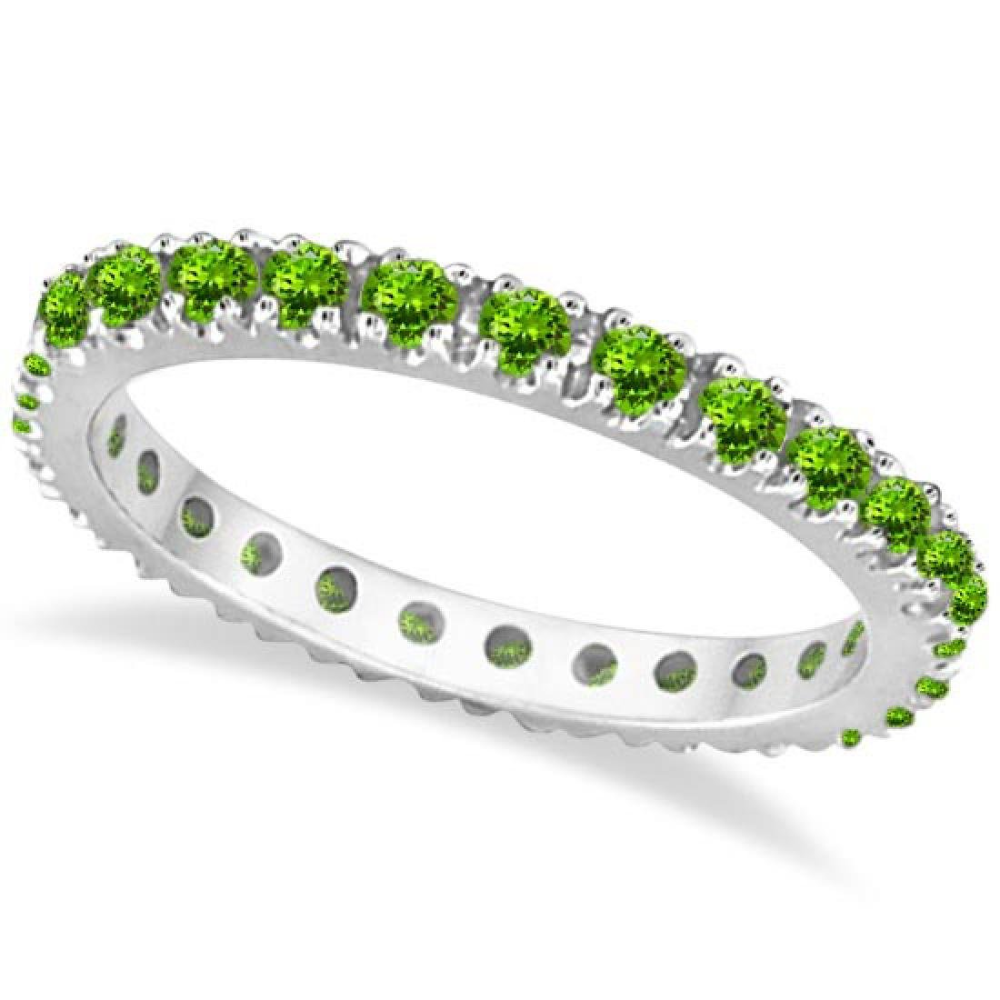 Peridot Eternity Stackable Ring Band 14K White Gold (0.