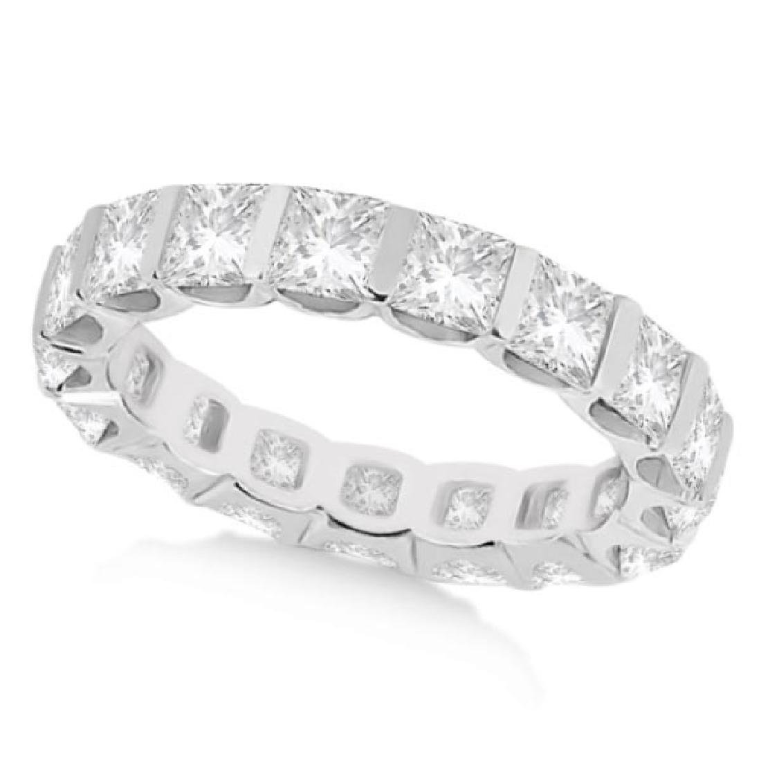 Bar-Set Princess Cut Diamond Eternity Ring Band 14k Whi
