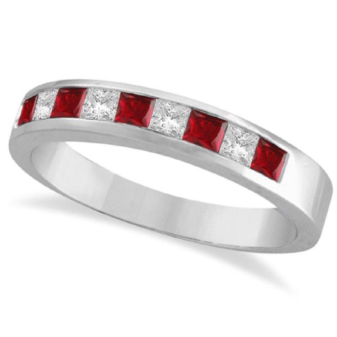 Princess-Cut Channel-Set Diamond and Ruby Ring Band 14k