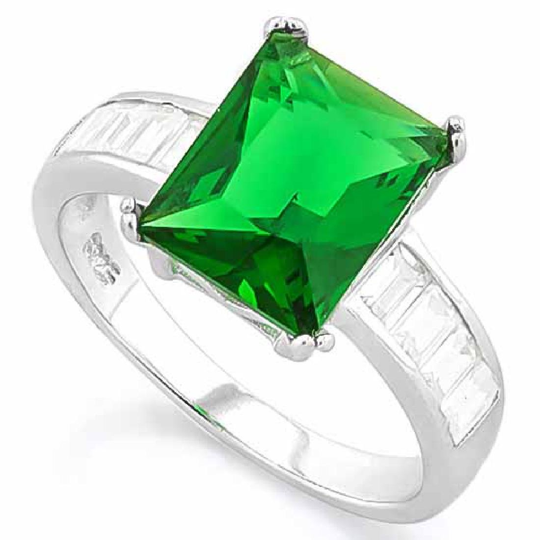 4 2/5 CARAT (13 PCS) CREATED EMERALD 925 STERLING SILVE