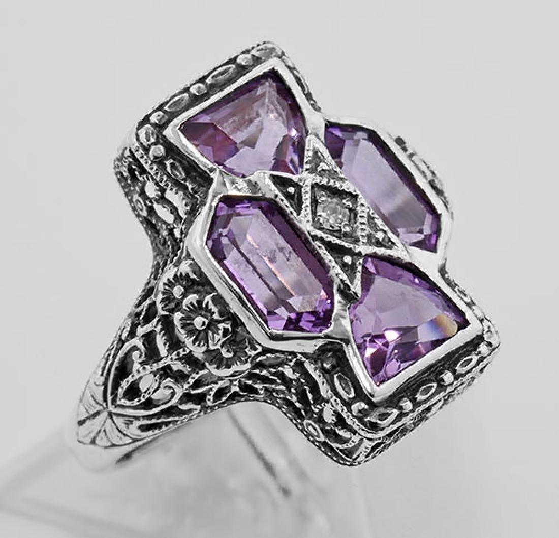 Amethyst Filigree Ring - Sterling Silver