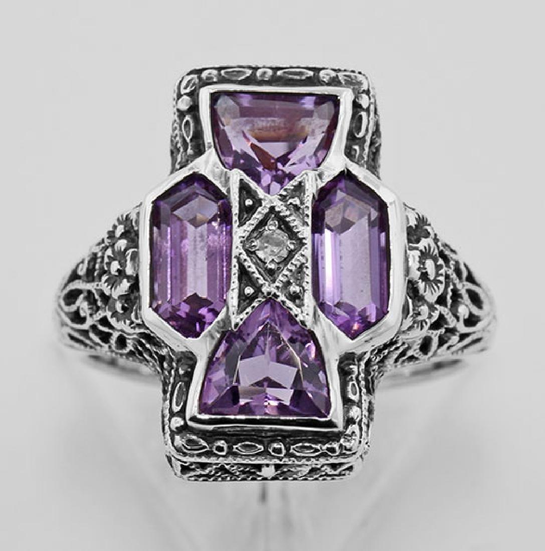 Amethyst Filigree Ring - Sterling Silver - 2