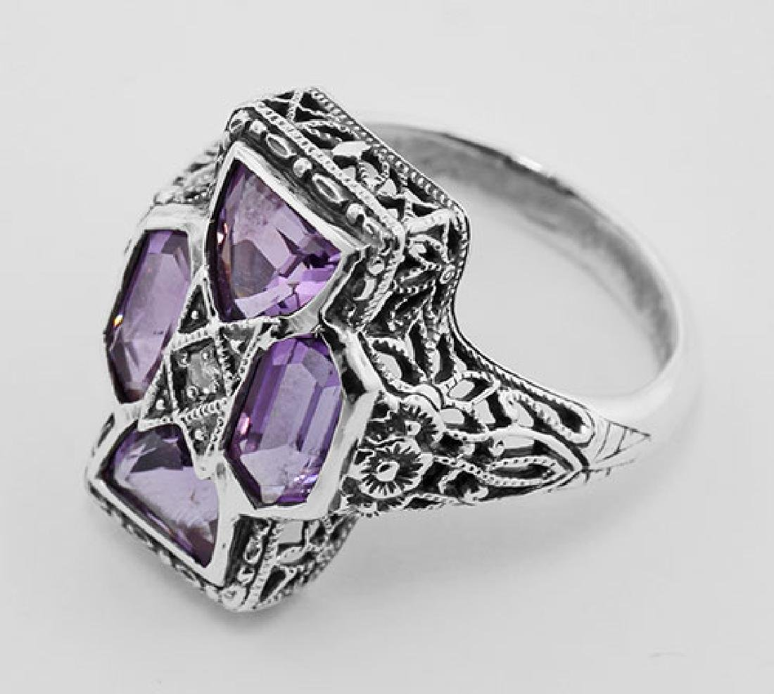 Amethyst Filigree Ring - Sterling Silver - 3