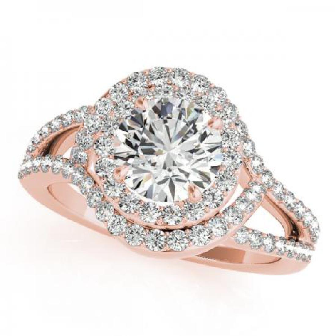 CERTIFIED 14KT ROSE GOLD 1.68 CT G-H/VS-SI1 DIAMOND HAL