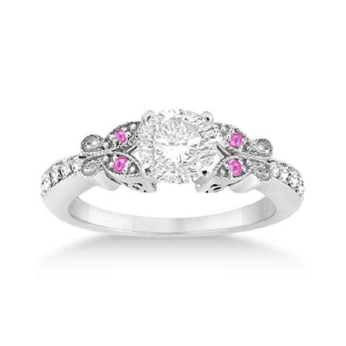 Butterfly Diamond and Pink Sapphire Engagement Ring 14k