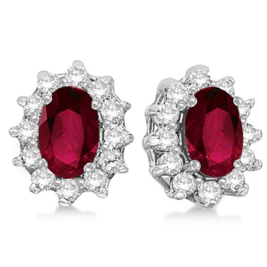 Oval Ruby and Diamond Accented Earrings 14k White Gold