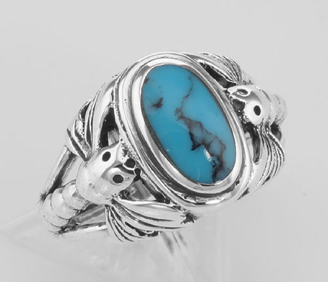 Unique Dragonfly Design Turquoise Ring - Sterling Silve