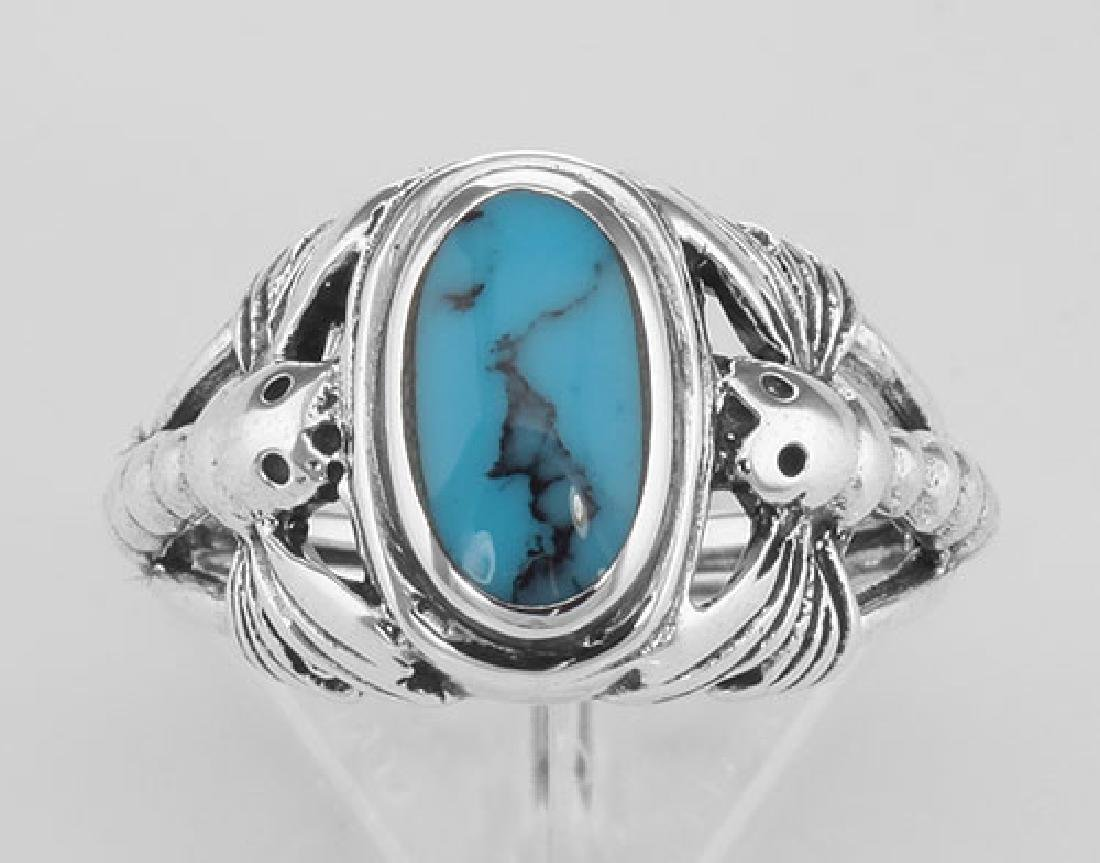 Unique Dragonfly Design Turquoise Ring - Sterling Silve - 2