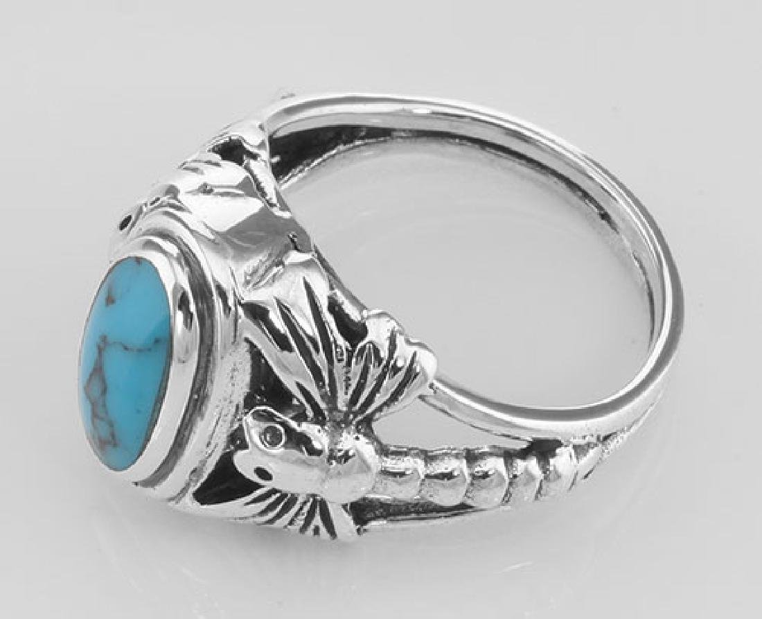 Unique Dragonfly Design Turquoise Ring - Sterling Silve - 3