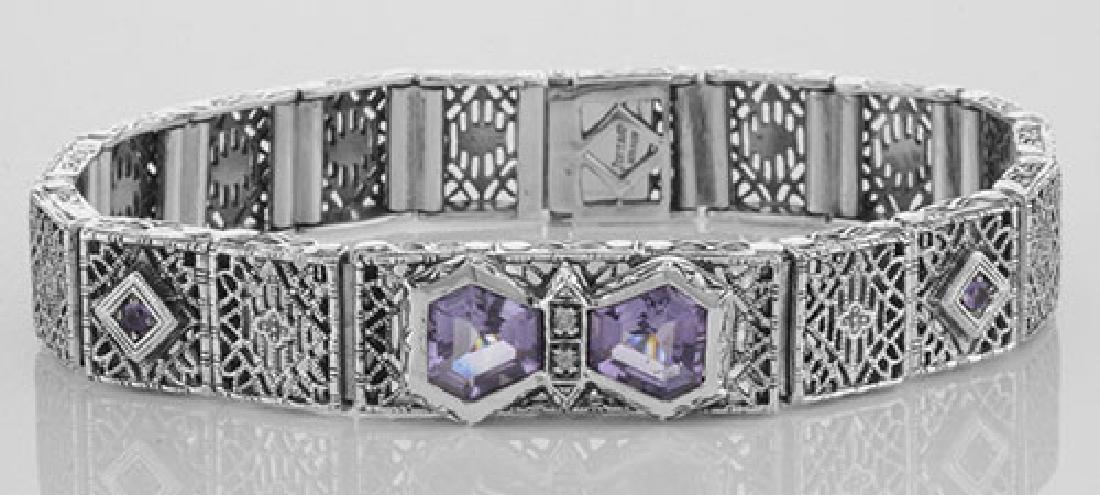 Art Deco Style Filigree Bracelet Genuine Amethyst & Dia
