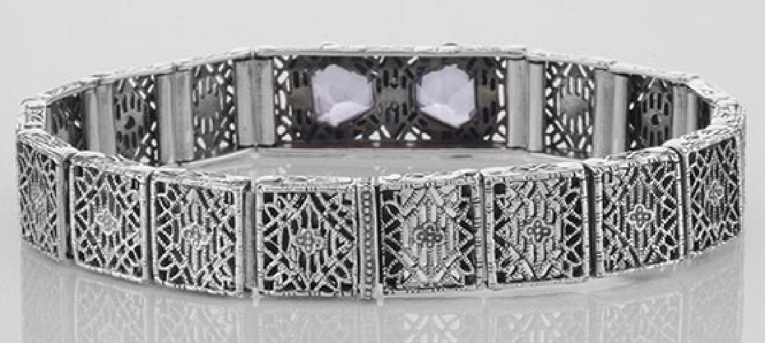 Art Deco Style Filigree Bracelet Genuine Amethyst & Dia - 2