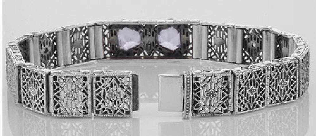 Art Deco Style Filigree Bracelet Genuine Amethyst & Dia - 3
