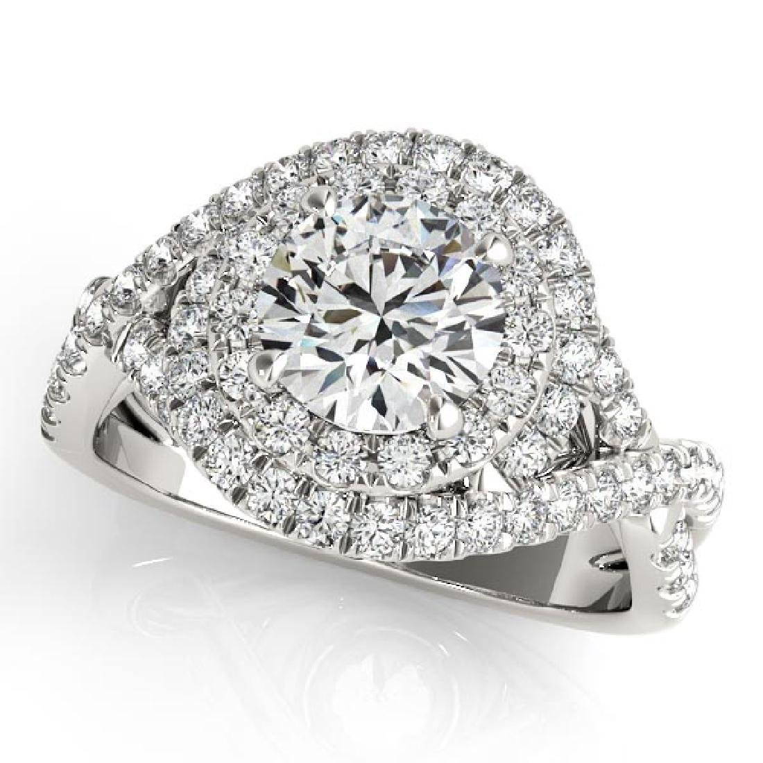 Infinity Twist Diamond Halo Engagement Ring 14k White G