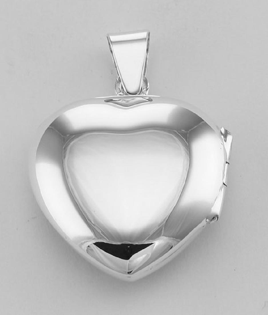 Antique Style Scroll Design Filigree Heart Locket - 2