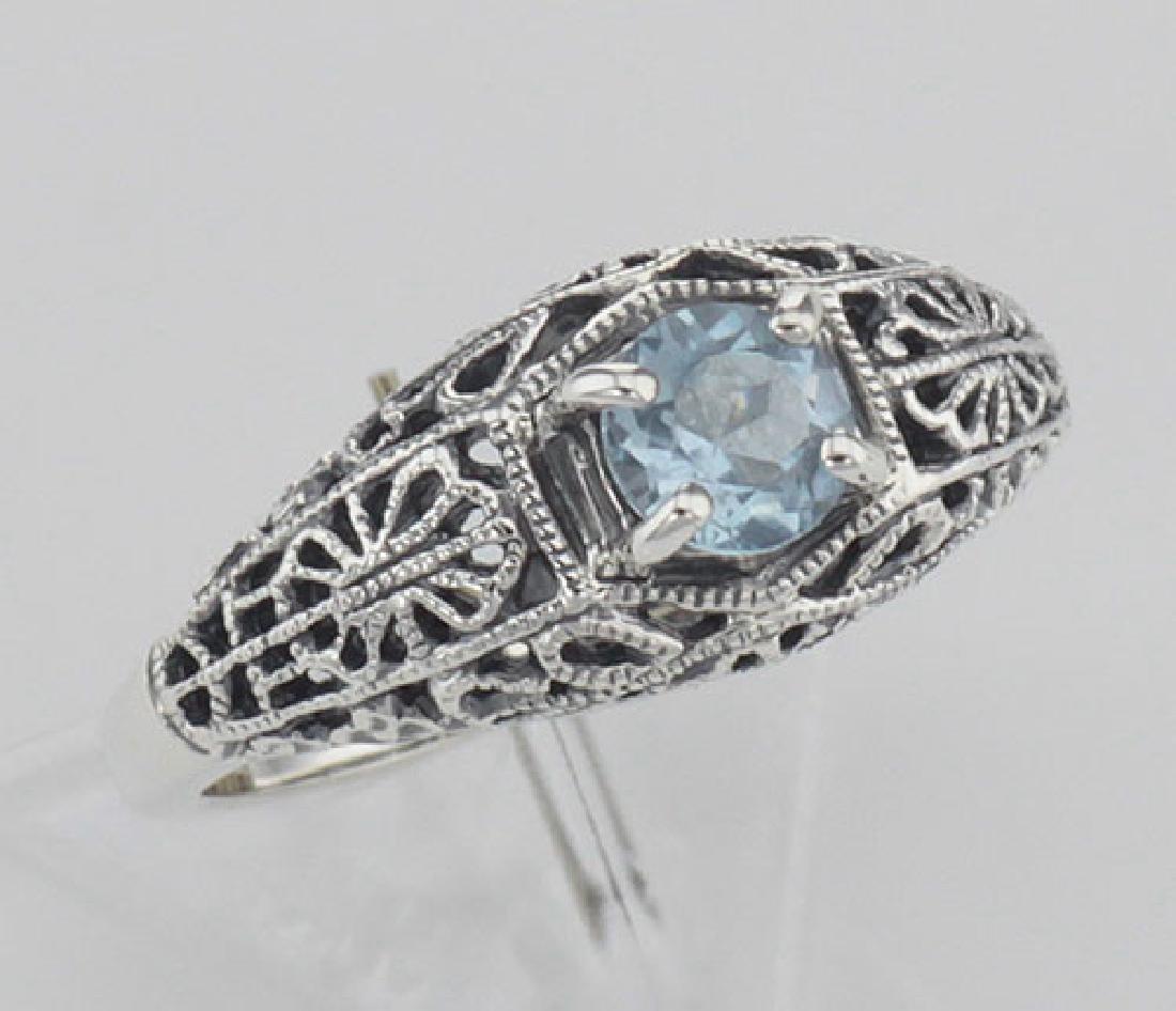 Blue Topaz Fine Filigree Ring - Art Deco Style - Sterli