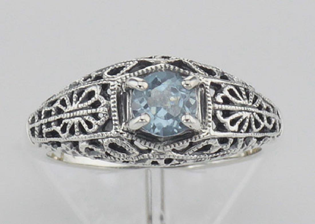 Blue Topaz Fine Filigree Ring - Art Deco Style - Sterli - 2