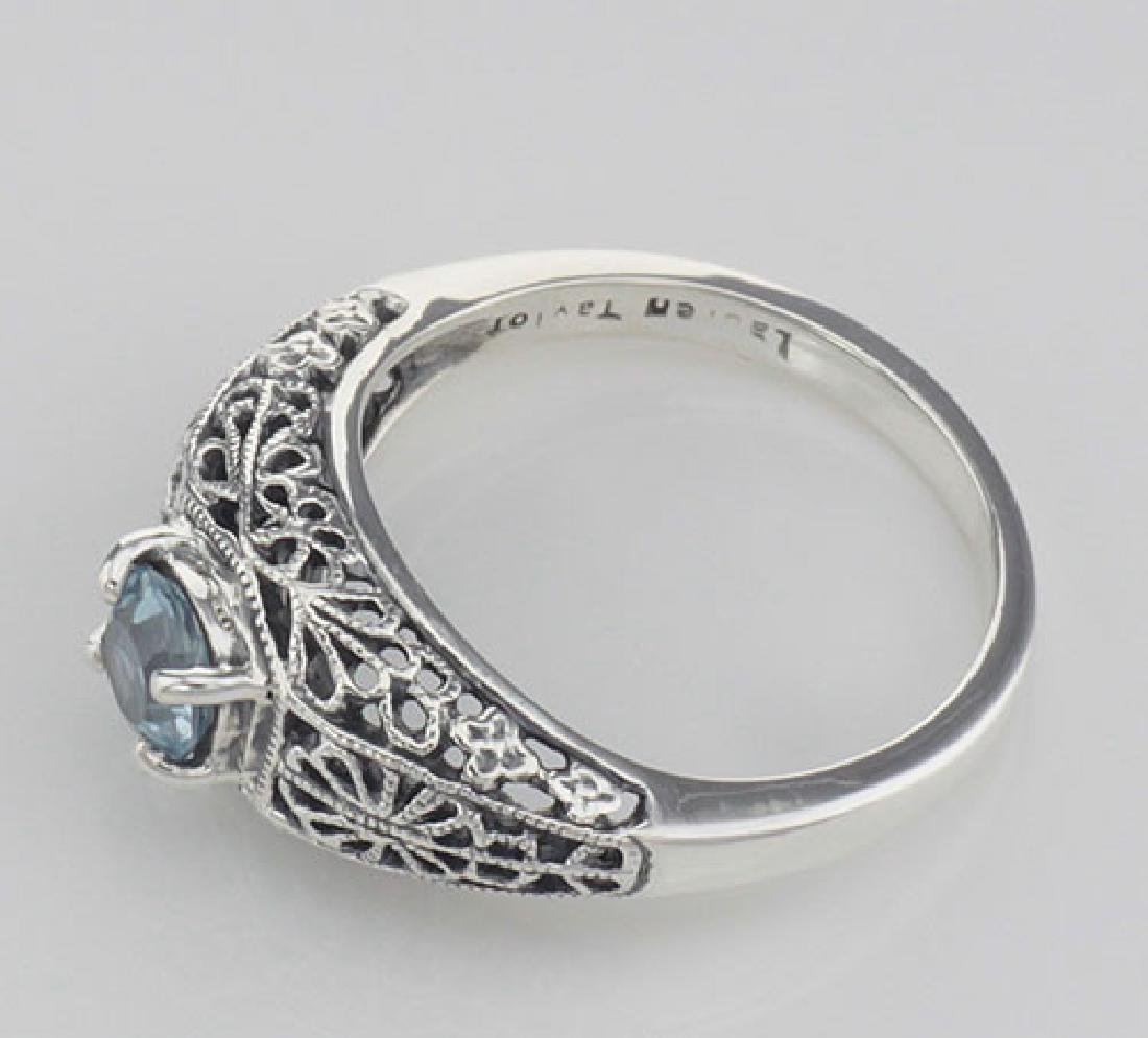 Blue Topaz Fine Filigree Ring - Art Deco Style - Sterli - 3