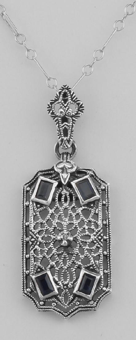 Art Deco Style Sapphire and Diamond Filigree Pendant -