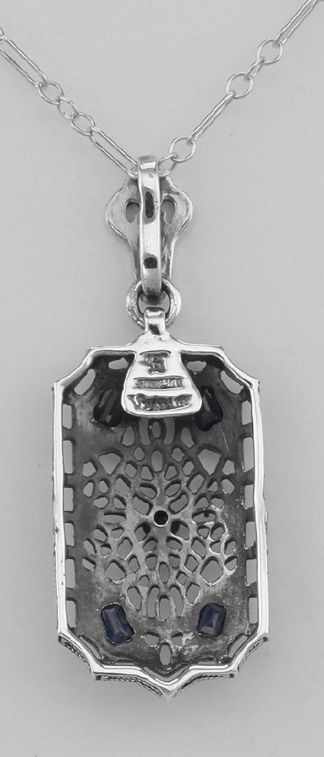 Art Deco Style Sapphire and Diamond Filigree Pendant - - 2