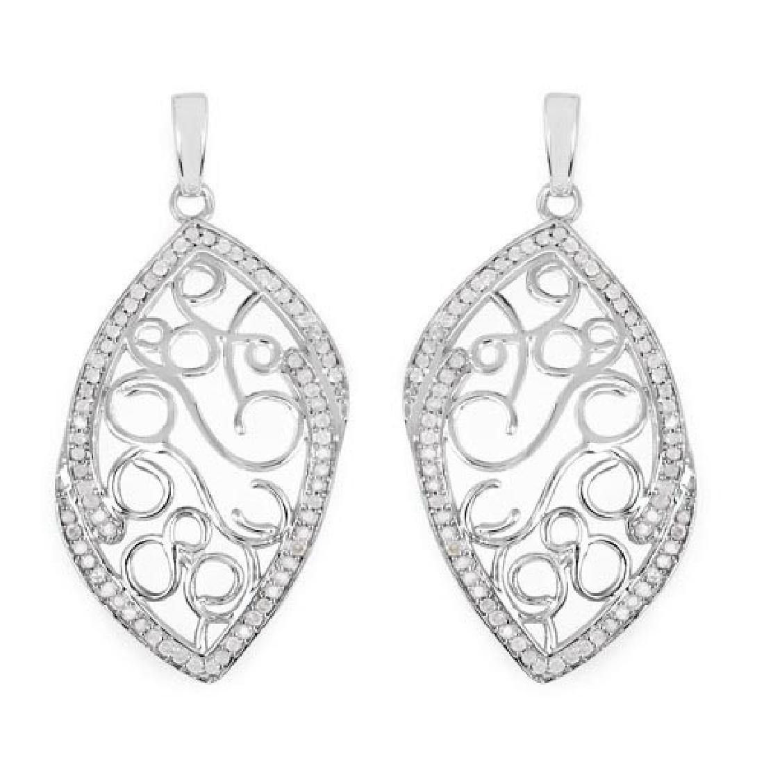 0.73 Carat Genuine White Diamond .925 Sterling Silver E