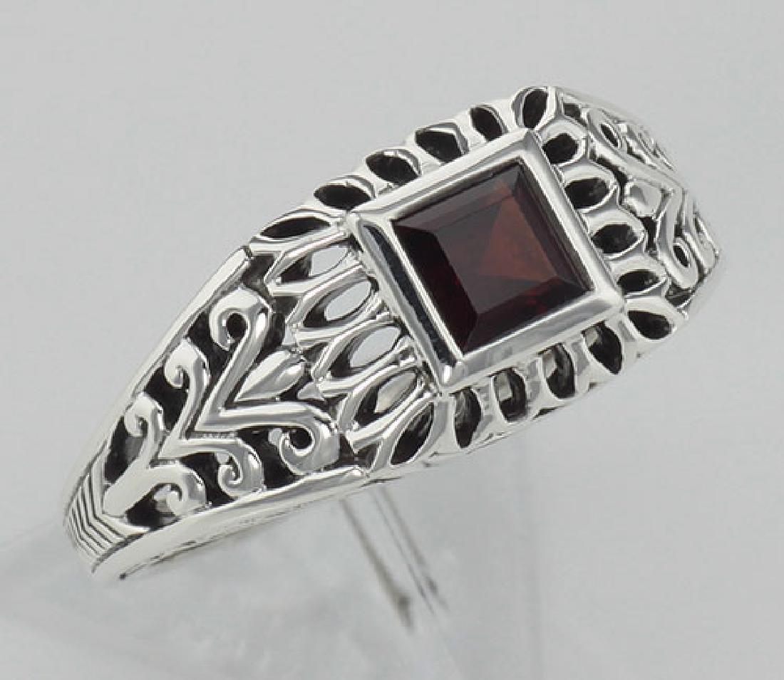Classic Square Cut Genuine Red Garnet Filigree Ring - S