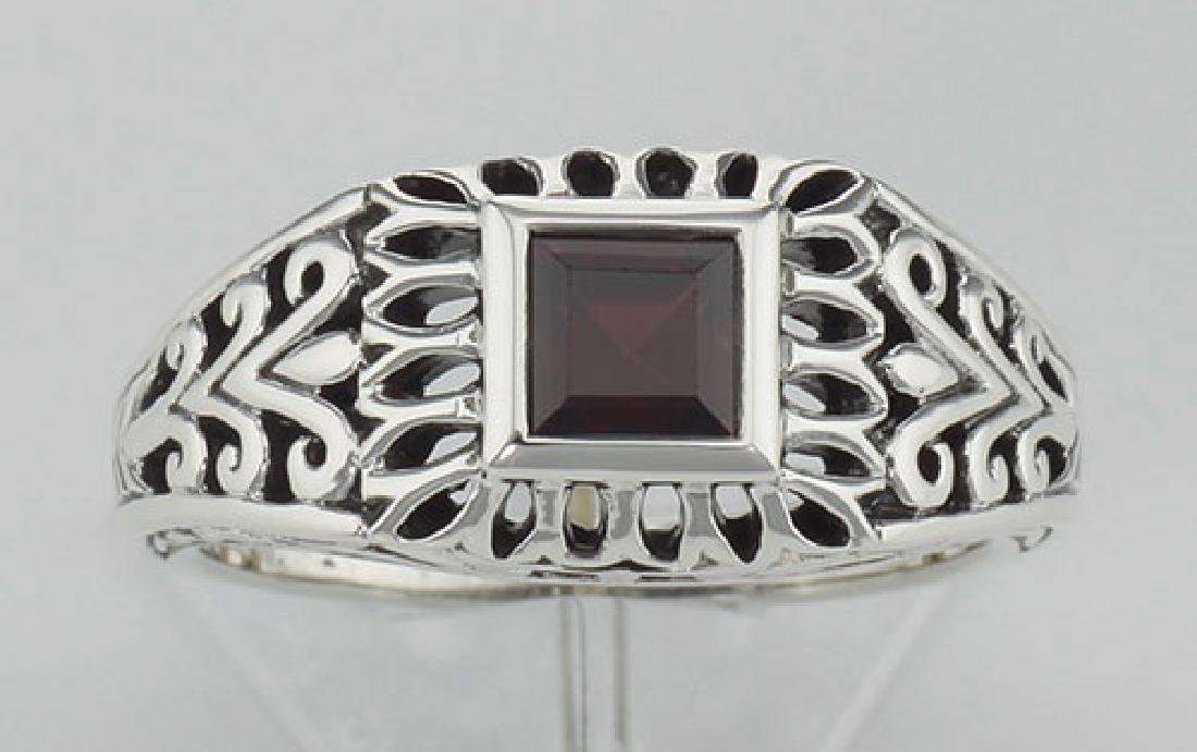 Classic Square Cut Genuine Red Garnet Filigree Ring - S - 2