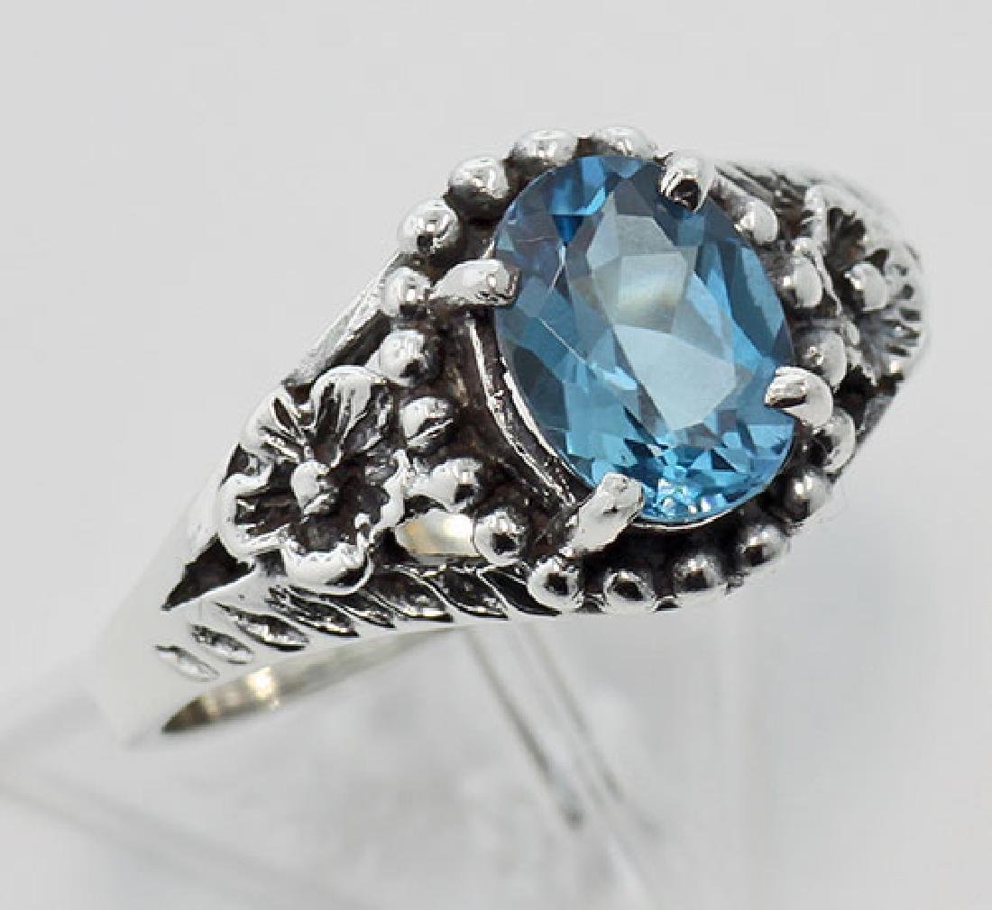 Antique Style London Blue Topaz Ring - Sterling Silver