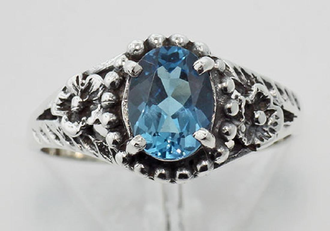 Antique Style London Blue Topaz Ring - Sterling Silver - 2