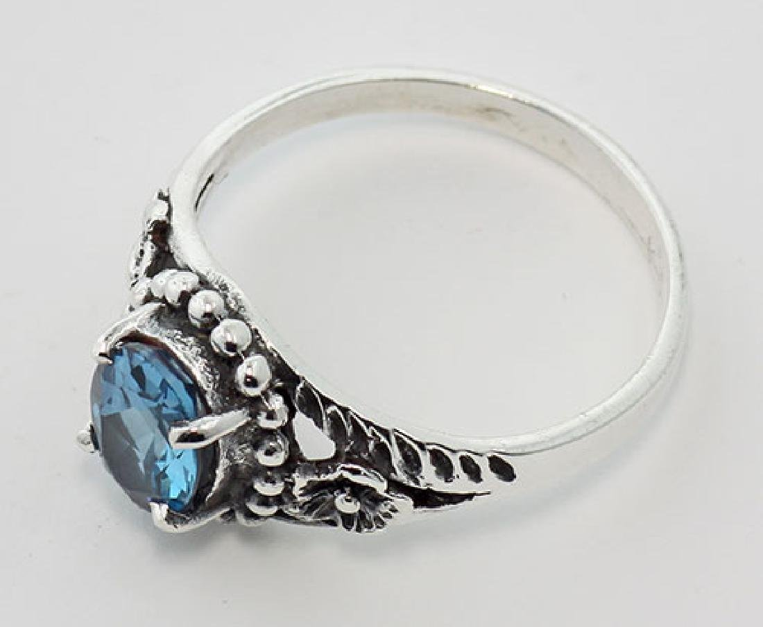 Antique Style London Blue Topaz Ring - Sterling Silver - 3