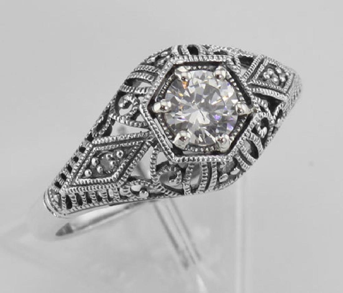 CZ Filigree Ring Art Deco Style w/ 4 Diamonds - Sterlin