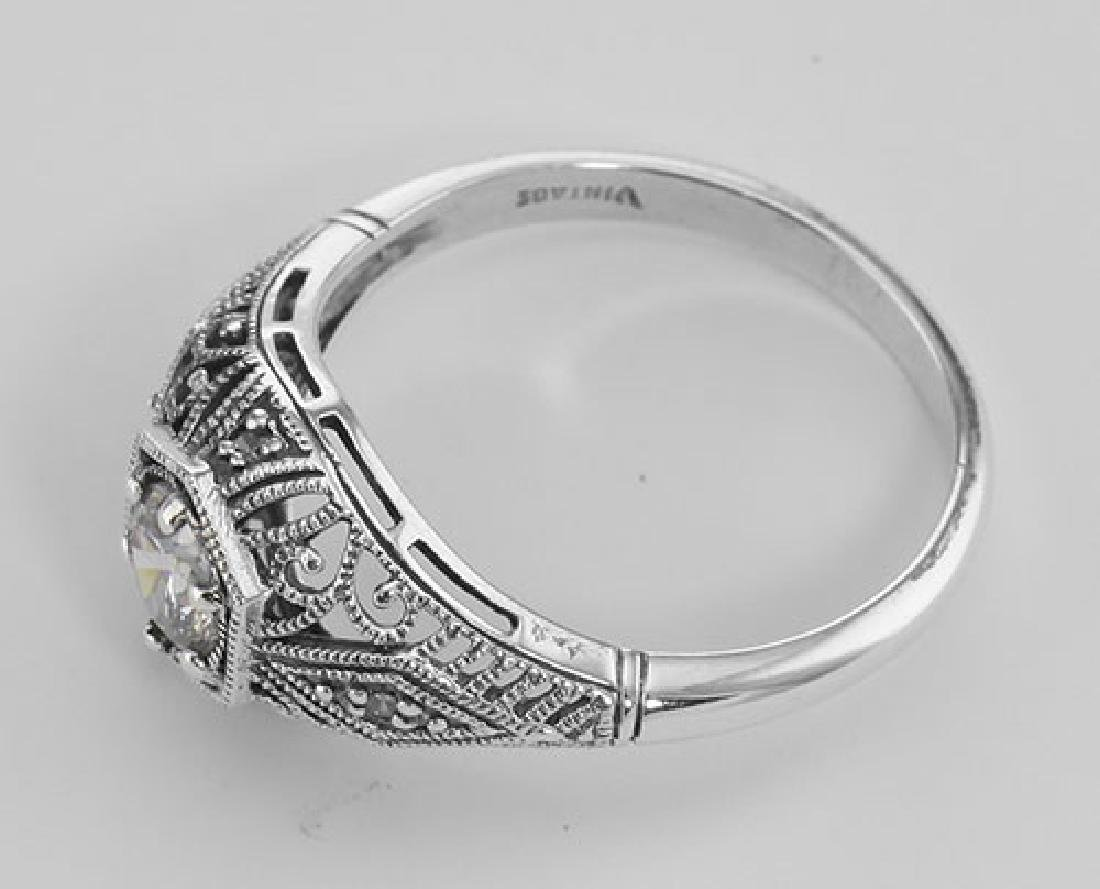 CZ Filigree Ring Art Deco Style w/ 4 Diamonds - Sterlin - 3