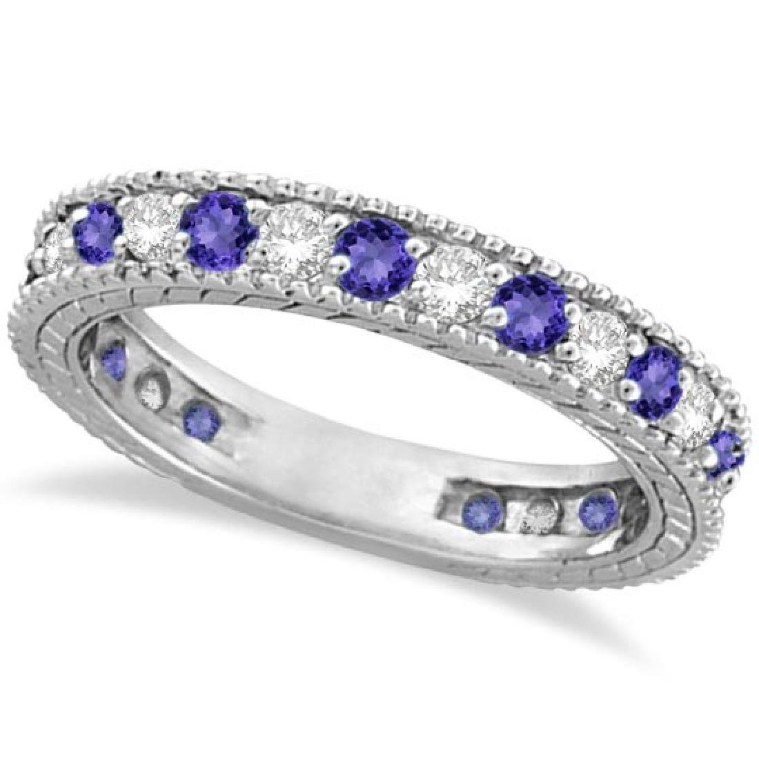 Diamond and Tanzanite Eternity Ring Band 14k White Gold