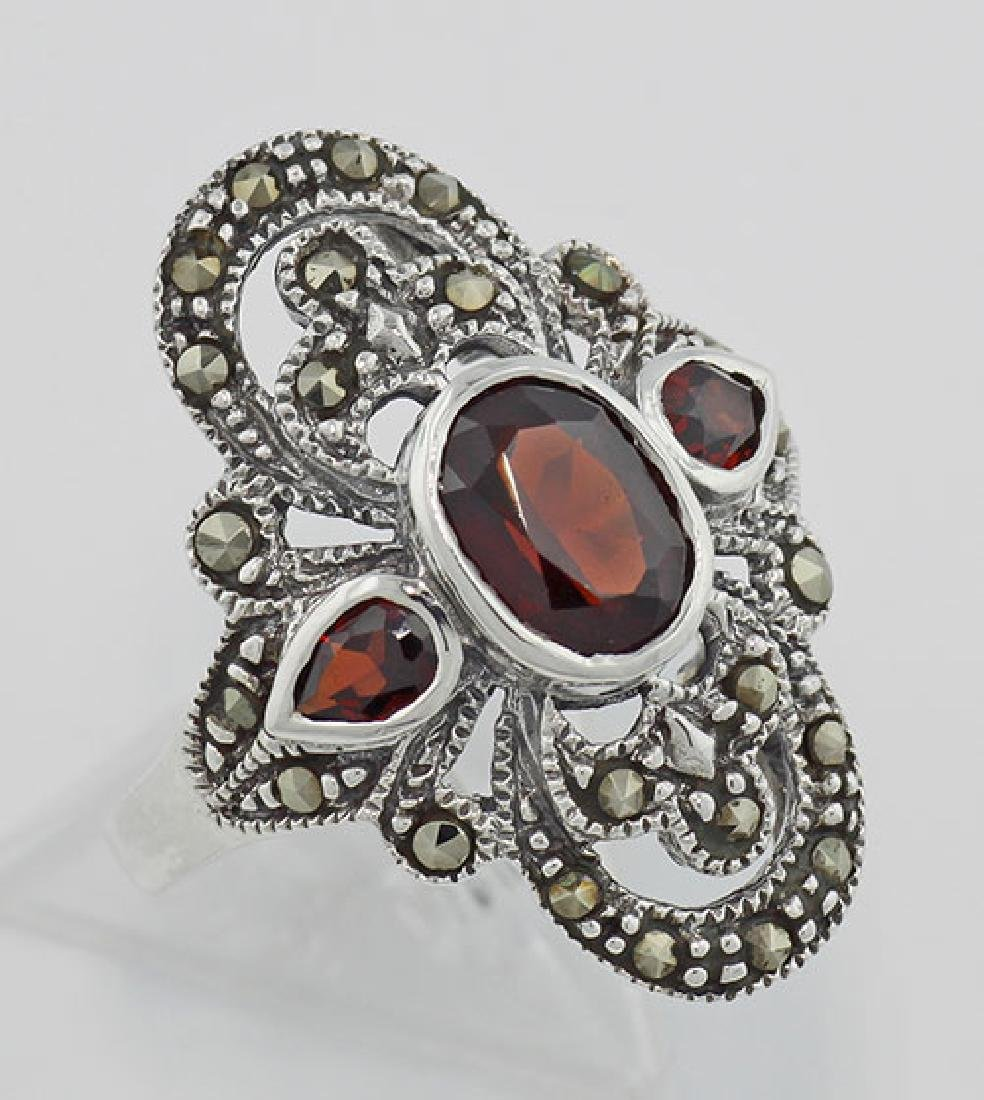 Garnet and Marcasite Ring - Sterling Silver