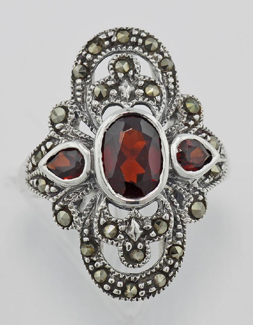 Garnet and Marcasite Ring - Sterling Silver - 2