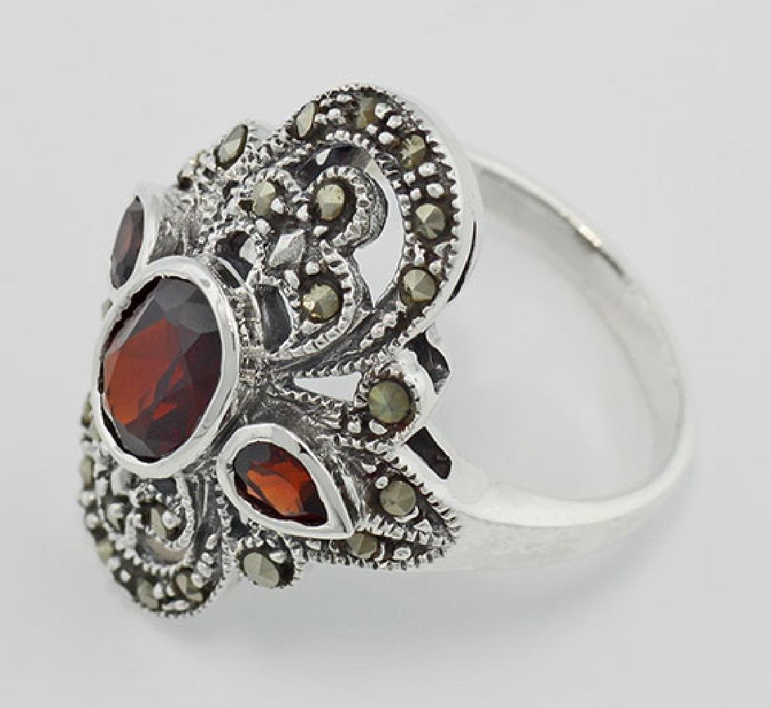 Garnet and Marcasite Ring - Sterling Silver - 3