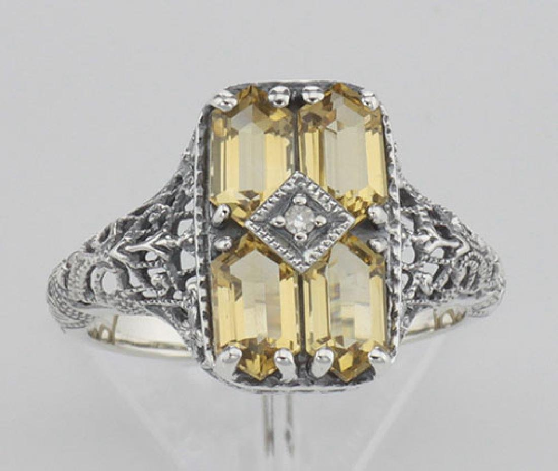 2 Carat Citrine Filigree Ring w/ Diamond - Sterling Sil - 2