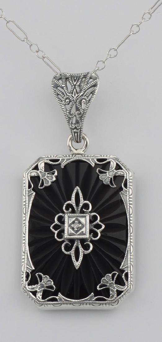 Art Deco Style Black Onyx Filigree Diamond Pendant - St