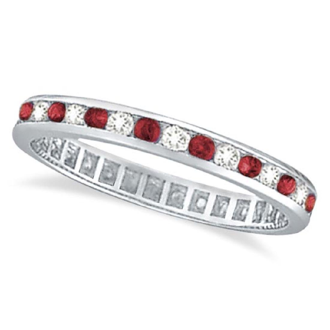 Garnet and Diamond Channel-Set Ring Eternity Band 14k W