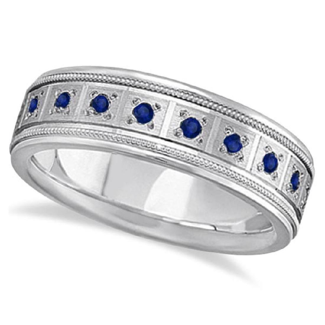 Blue Sapphire Ring for Men Wedding Band 14k White Gold