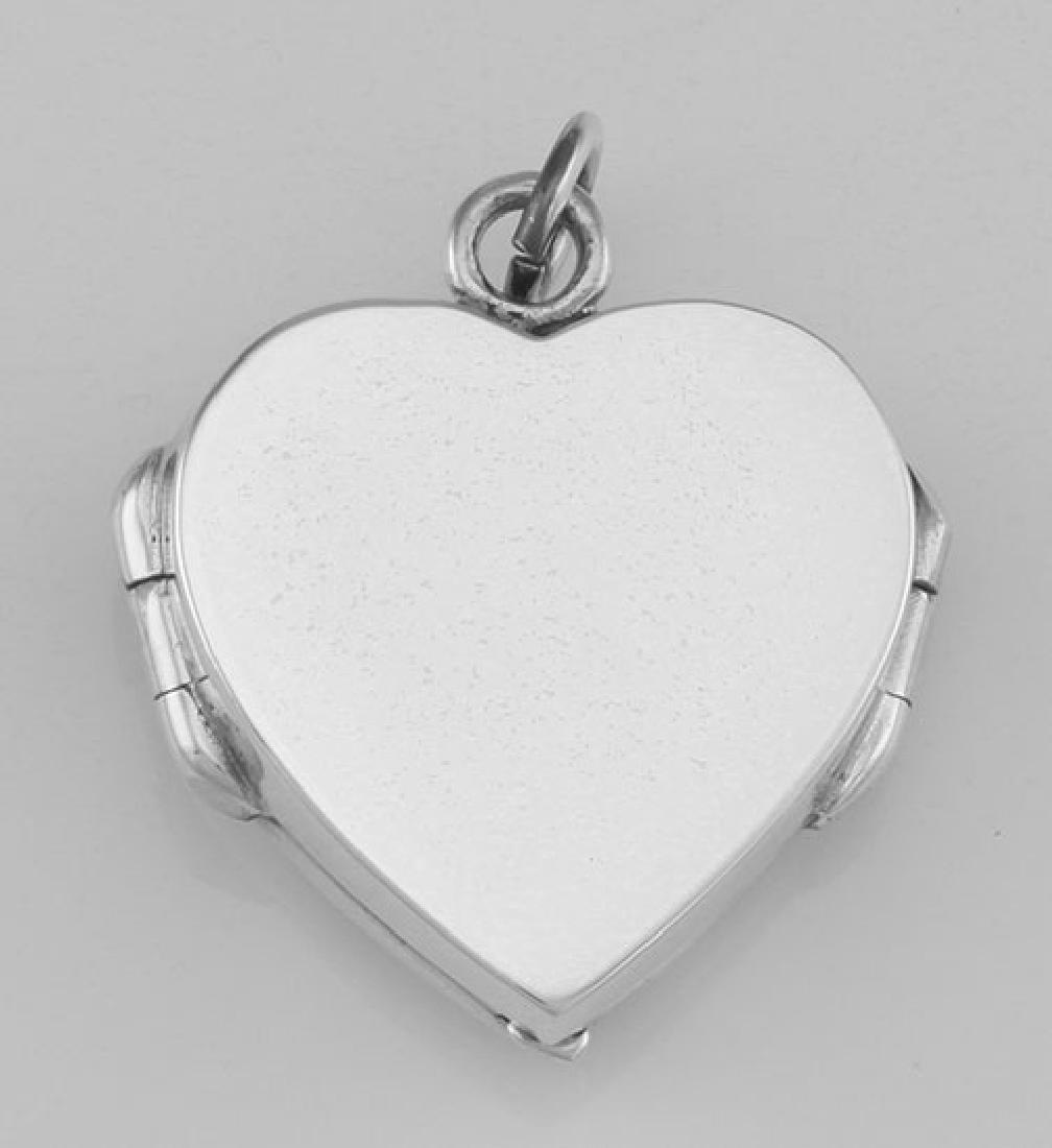 Beautiful Angel Wings Heart Locket In Fine Sterling Sil - 3