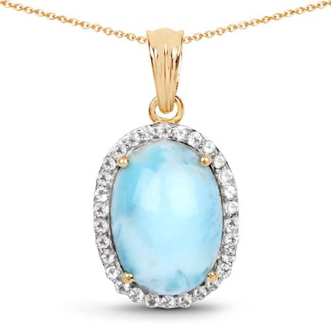 14K Yellow Gold Plated 13.55 Carat Genuine Larimar and