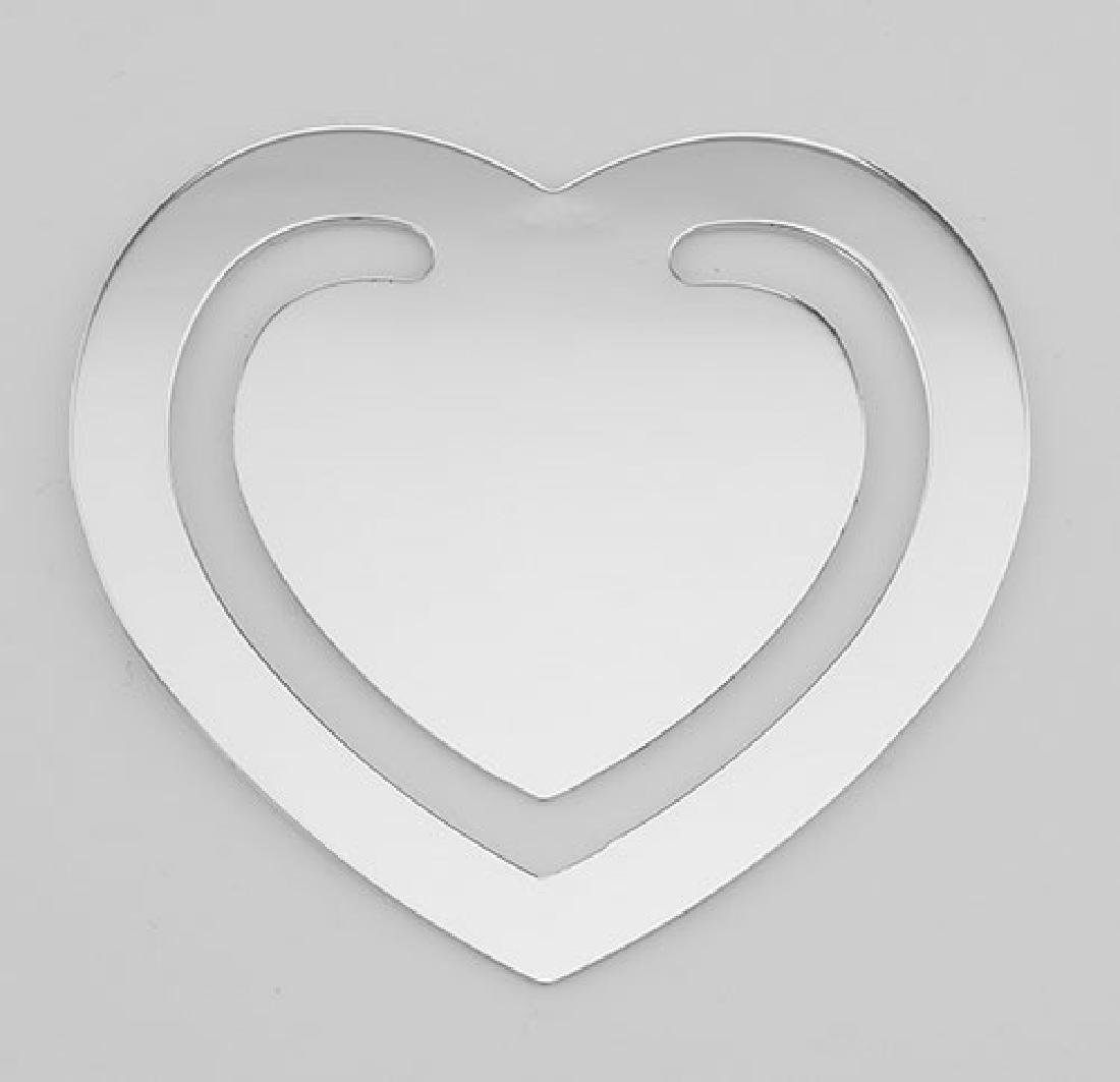 Sterling Silver Heart Bookmark - Made in USA
