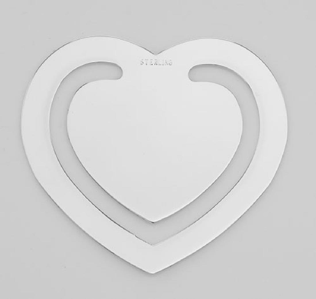 Sterling Silver Heart Bookmark - Made in USA - 2