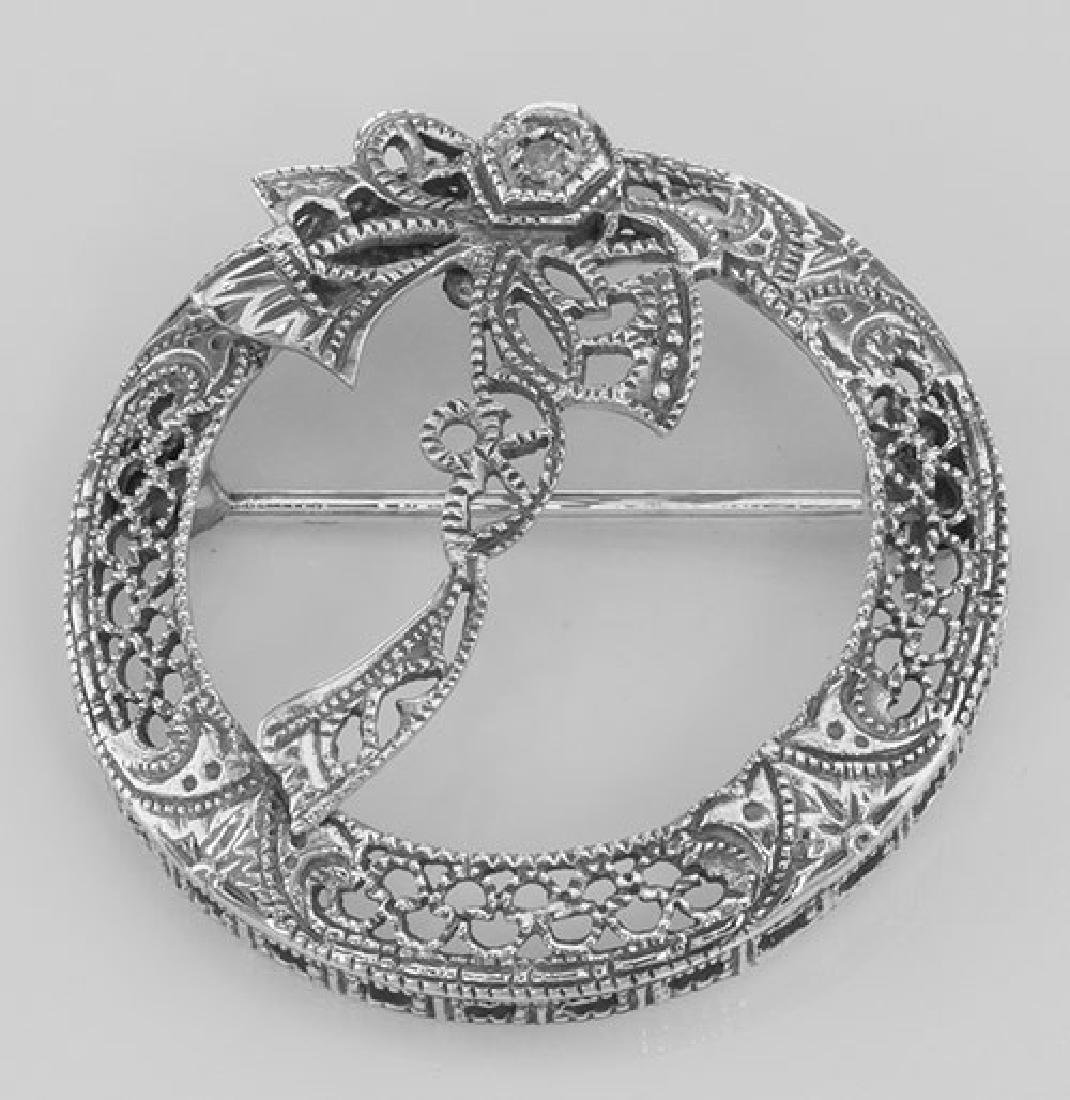 Antique Victorian Style Diamond Wreath Pin - Sterling S