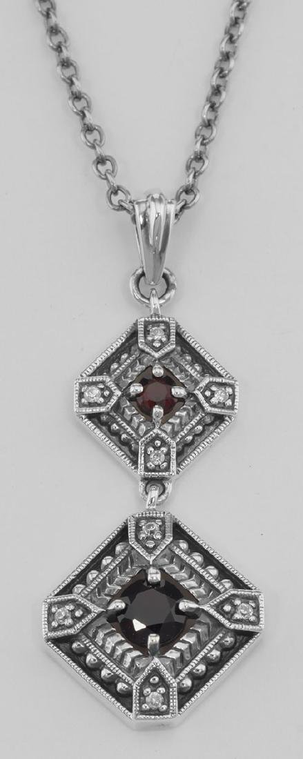Art Deco Style Genuine Red Garnet and Filigree Necklace
