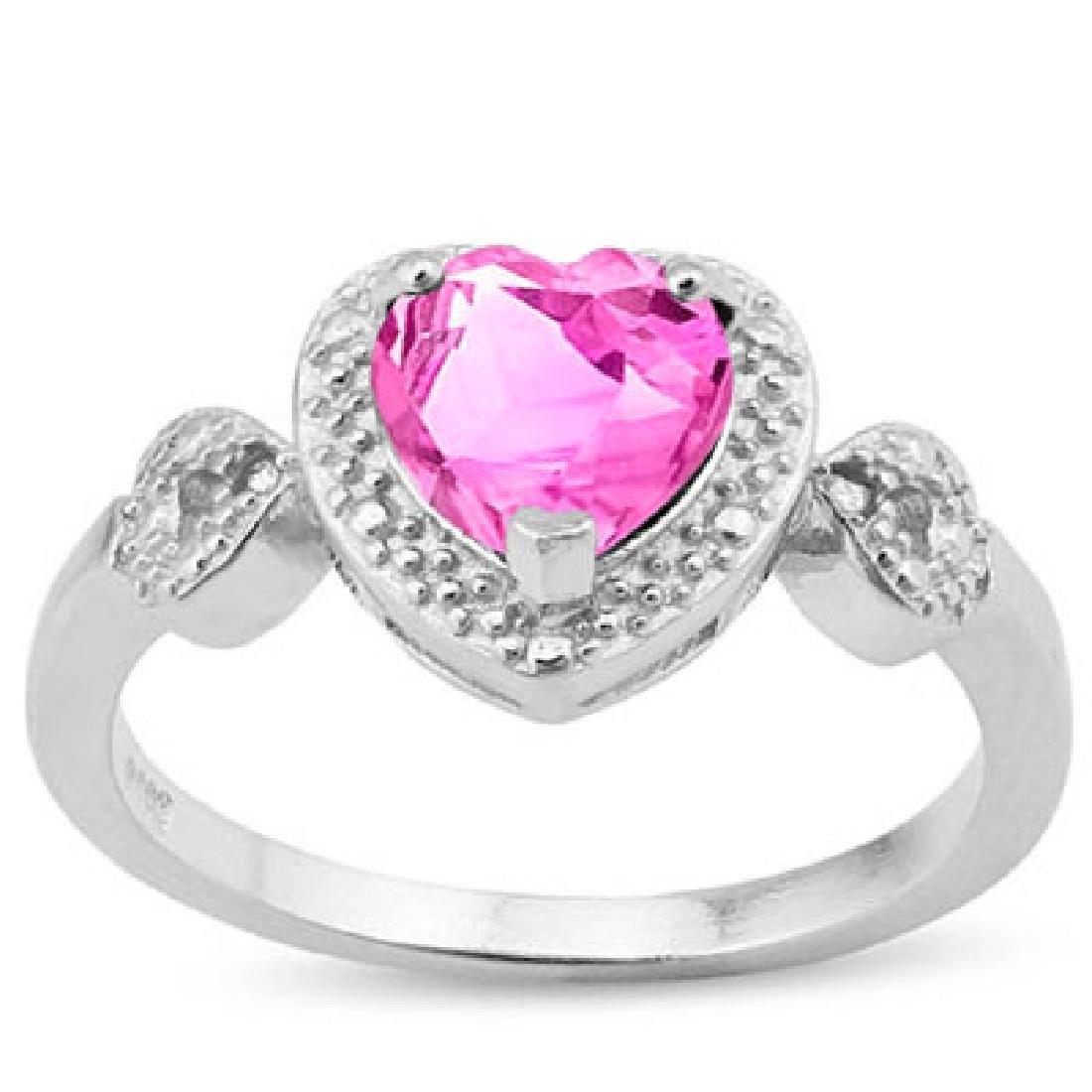1 2/5 CARAT CREATED PINK SAPPHIRE & DIAMOND 925 STERLIN