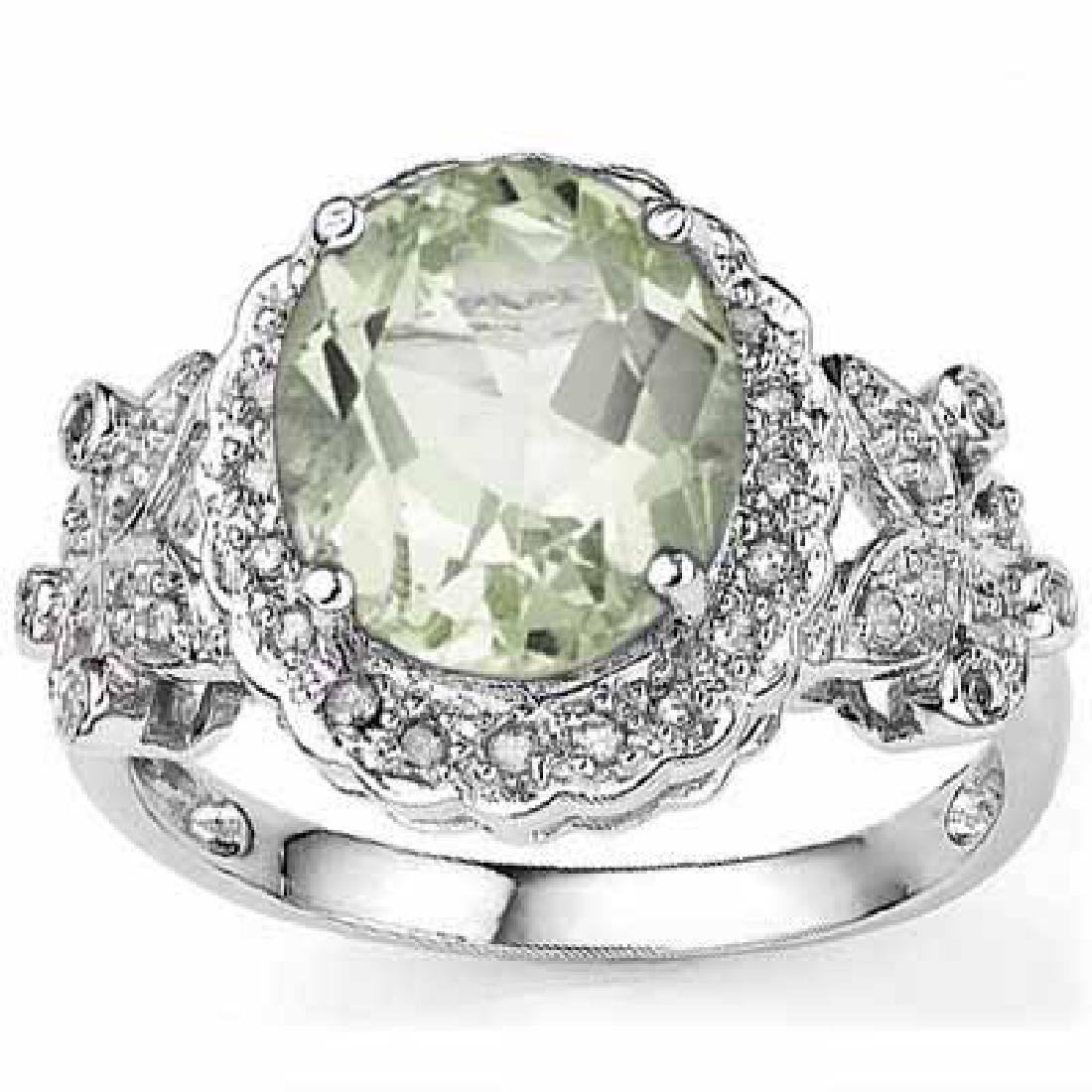 2.92 CARAT GREEN AMETHYST & GENUINE DIAMOND PLATINUM OV